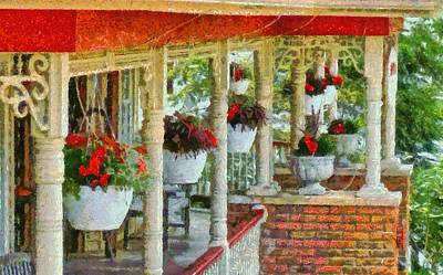 Ohio Painting - Flowers On The Front Porch by Dan Sproul
