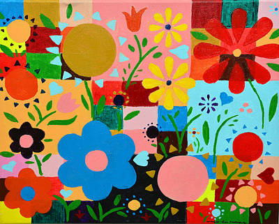 Flowers On The Quilt Art Print