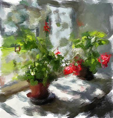 Flowers On The Window Art Print by Yury Malkov