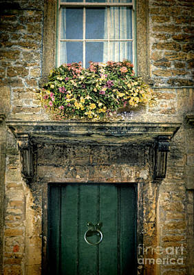 Floral Vintage Window Photograph - Flowers Over Doorway by Jill Battaglia