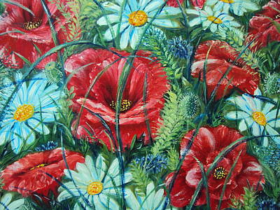 Painting - Flowers Poppies And Daisies by Drinka Mercep