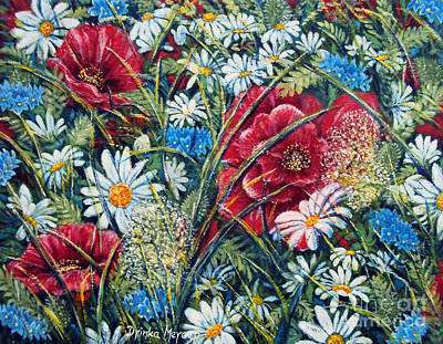 Painting - Flowers Poppies And Daisies No.5 by Drinka Mercep