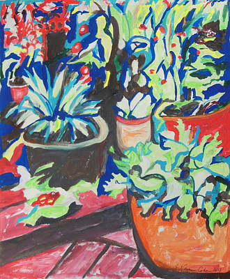 Painting - Flowers Pots On A Wooden Deck by Esther Newman-Cohen