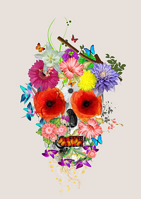 Flowers Scull  Art Print by Mark Ashkenazi