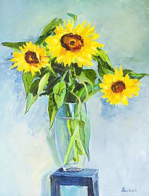 Flowers Sunflowers Art Print by Alexander Maslik