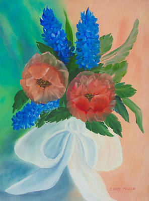 Painting - Flowers Tied With A Bow by Carol L Miller