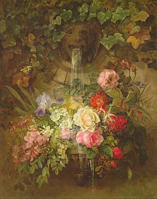 Flowers Under A Lion Fountain Art Print