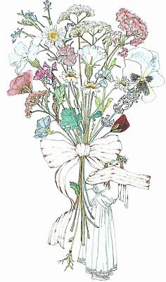 Dried Mixed Media - Flowers With A Girl And A Bow by Janet Ashworth