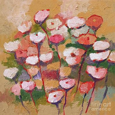 Flowers With Beige Print by Lutz Baar
