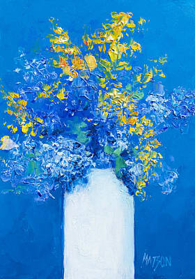 Flowers With Blue Background Art Print by Jan Matson