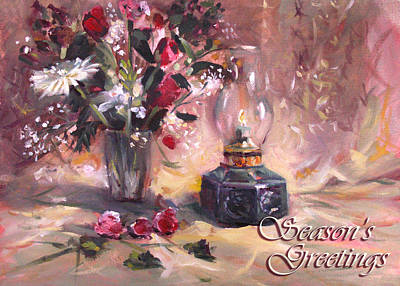 Painting - Flowers With Lantern Christmas Card by Nancy Griswold