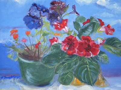Gloxinias Painting - Flowers With The Sky  by Patricia Kimsey Bollinger