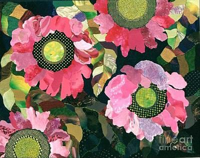 Collage Painting - Flowerworks by Susan Minier