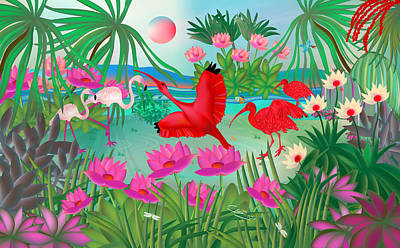 Digital Art - Flowery Lagoon - Limited Edition 1 Of 20 by Gabriela Delgado