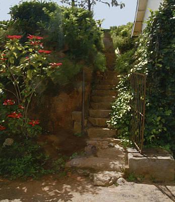 Flowery Stairway Art Print by Dominique Amendola