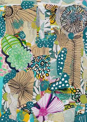 Mixed Media - Flowes In An Ocean Forest by Rosalina Bojadschijew