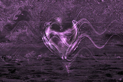 Abstract Hearts Digital Art - Flowing Heart by Linda Sannuti