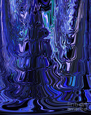 Fruits And Vegetables Still Life - Flowing Shades of Blue Blending with Black Abstract Design Unique Art by Adri Turner
