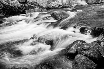 Photograph - Flowing St Vrain Creek Black And White by James BO  Insogna