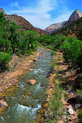 Photograph - Flowing Virgin River Zion  by Third Eye Perspectives Photographic Fine Art