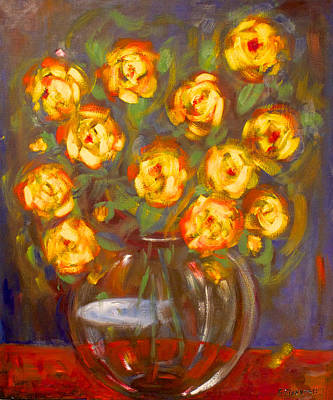 Rosaceae Painting - Yellow Roses by Elizabeth Petersson