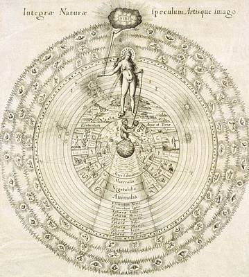 Terrestrial Sphere Photograph - Fludd's Cosmology, 1617 by Science Photo Library