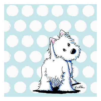Kiniart Digital Art - Fluffy Butt Westie by Kim Niles