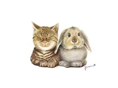 Fluffy Cat And Rabbit Original by Florence Lee
