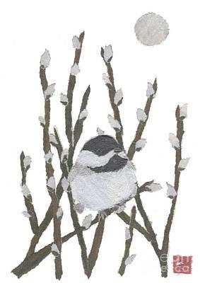 Painting - Chickadee Art Hand-torn Newspaper Collage Art By Keiko Suzuki Bless Hue by Keiko Suzuki