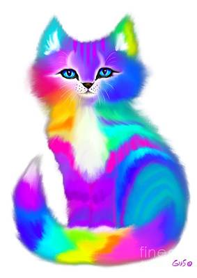 Painting - Fluffy Rainbow Kitten by Nick Gustafson