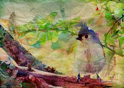 Tufted Titmouse Photograph - Fluffy Tufted Titmouse - Digital Paint II by Debbie Portwood