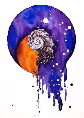 Drips Painting - Fluidity 16 - Mollusc Shell - Elena Yakubovich by Elena Yakubovich