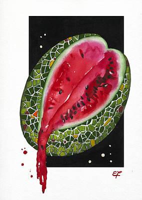 Watermelon Painting - Fluidity 9 - Elena Yakubovich by Elena Yakubovich