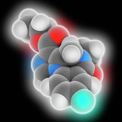 Flumazenil Drug Molecule Art Print by Laguna Design