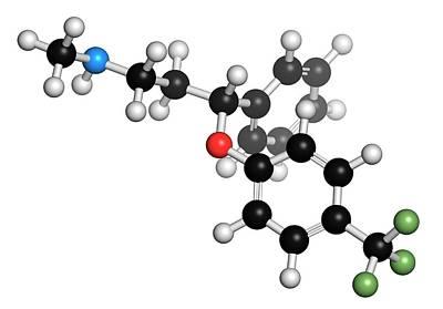 Antidepressant Photograph - Fluoxetine Antidepressant Drug Molecule by Molekuul