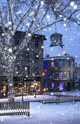 Art Print featuring the photograph Flurries In Quebec City by Arkady Kunysz