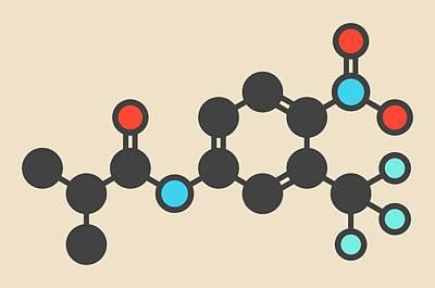 Flutamide Prostate Cancer Drug Molecule Print by Molekuul