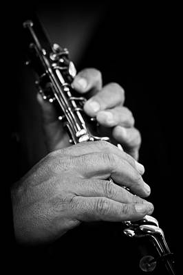 Gypsy Photograph - Flute Being Played In Black And White by Sheila Haddad
