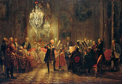 Flute Concert With Frederick The Great In Sanssouci Art Print by Adolph von Menzel