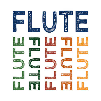 Primary Colors Digital Art - Flute Cute Colorful by Flo Karp