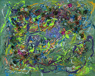Modern Abstract Mixed Media - Fluttering Across The Pond by Donna Blackhall