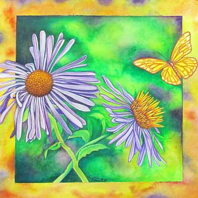 Flutters And Flowers Art Print by Cynthia Stewart