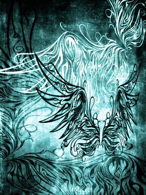 Supernatural Mixed Media - Fly Away Gothic Aqua by Angelina Vick