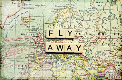 Typography Map Photograph - Fly Away by Sylvia Cook