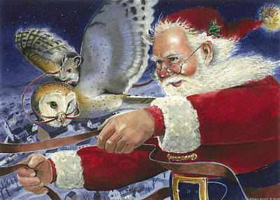 Santa Claus Painting - Fly By Night by Denny Bond