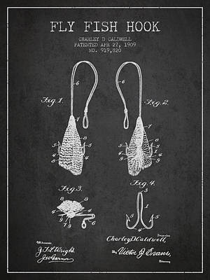 Reel Digital Art - Fly Fish Hook Patent From 1909- Charcoal by Aged Pixel