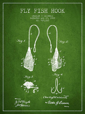 Reel Digital Art - Fly Fish Hook Patent From 1909- Green by Aged Pixel