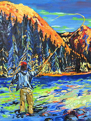 Painting - Fly Fisherman by Gregory Merlin Brown