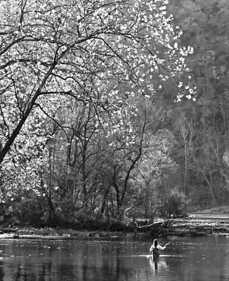 Photograph - Fly Fisherwoman Bw by Denise Romano