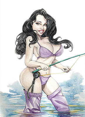 Fly Fishing Babe Art Print